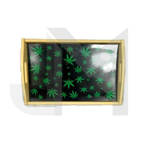 Leaf Design Wooden Rolling Tray
