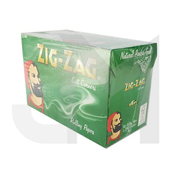 100 Zig-Zag Green Regular Size Rolling Papers