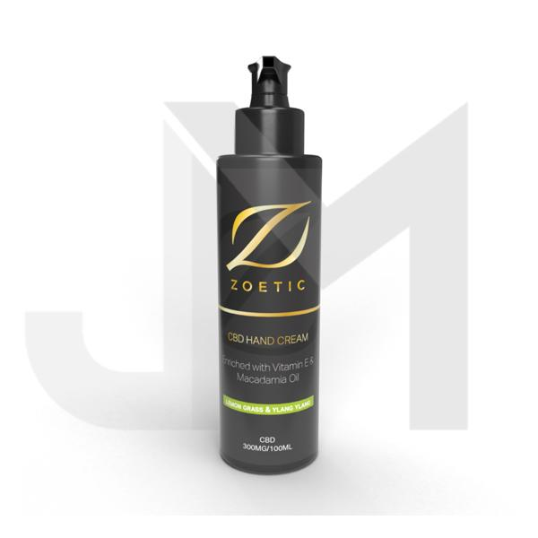 Zoetic 300mg CBD Hand Cream 100ml - Lemongrass & Ylang Ylang