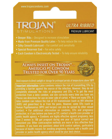 Trojan Ribbed Condoms - Box Of 3 - RealisticDildos.com