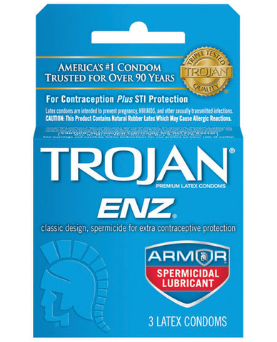 Trojan Enz Spermicidal Lubricated Condoms - Box Of 3 - RealisticDildos.com