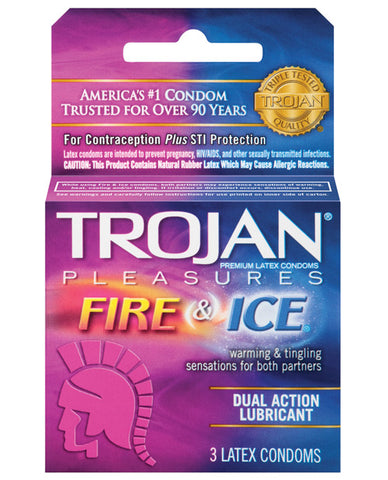 Trojan Fire & Ice Condoms - Box Of 3 - RealisticDildos.com