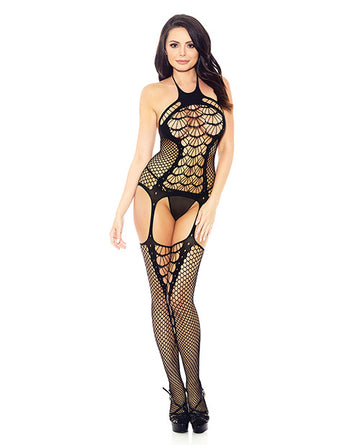 Halter Spider Web Fishnet Bodystocking Black O-s