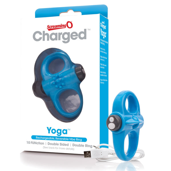 Charged Yoga Rechargeable Vibe Ring - Blue - realistic enterprises llc