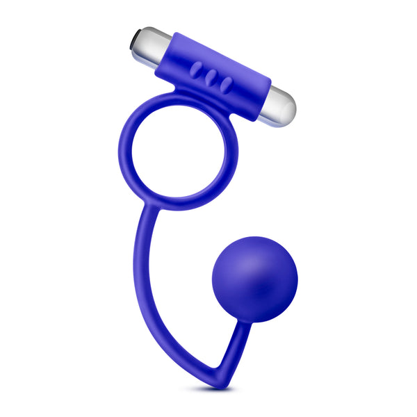 Performance Penetrator Anal Ball With Vibrating Cock Ring - Indigo - RealisticDildos.com