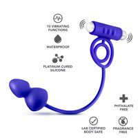 Performance Penetrator Anal Plug W-vibrating Cock  Rings - Indigo - realistic enterprises llc