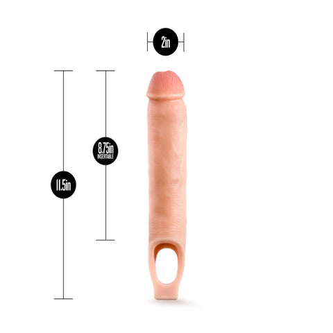 Performance Plus - 11.5 Inch Silicone Cock Sheath  Penis Extender - Vanilla - realistic enterprises llc