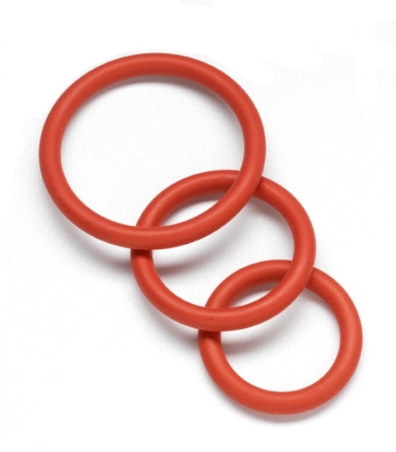 Nitrile Cock Ring Set - Red - RealisticDildos.com