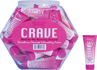 Crave Warming Lubricating Cream Strawberry Flavored 0.5 Oz Fishbowl 36 Count - realistic enterprises llc