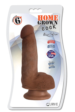 Home Grown 6 Inch Realistic Cock - Chocolate - realistic dildos