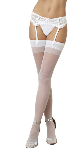 Sheer Thigh High - One Size - White - RealisticDildos.com