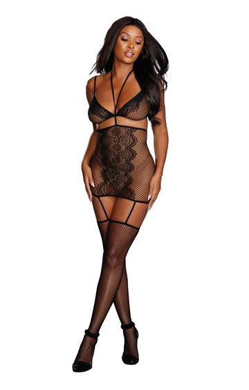 Bra, Garter Skirt, & Stockings - One Size - Black