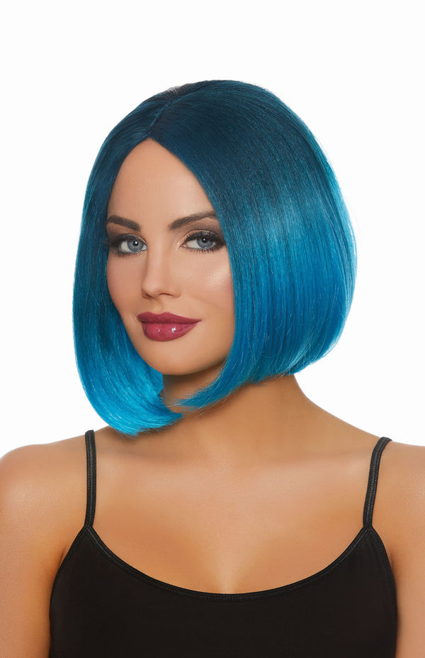 Dreamgirl Mid-Length Steel Blue-bright Blue Ombre Wig - realistic enterprises llc