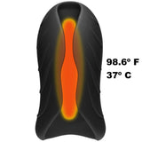 Optimale - Silicone Auto-Heating Stroker -  Rechargebale - Vibrating - Black-slate - RealisticDildos.com