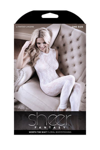 Worth the Wait Floral Bodystocking  - White - One Size - realistic enterprises llc