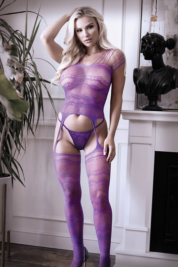 Purple Haze Strappy Gartered Bodystocking - One  Size