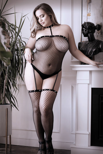 Hands to Myself Studded Collar Bodystocking - Queen Size
