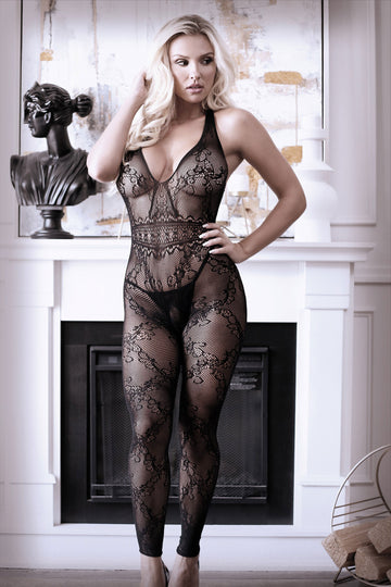 Good as Hell Halter Lace Footless Bodystocking - One Size