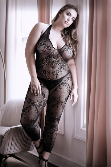 Good as Hell Halter Lace Footless Bodystocking - Queen Size