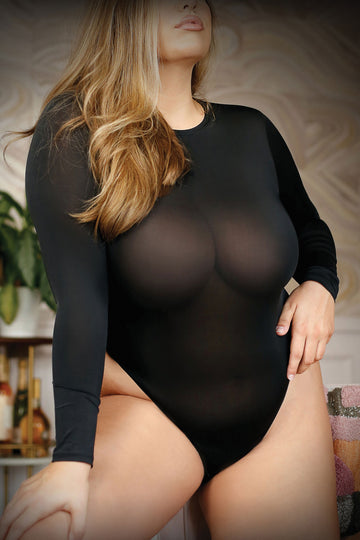 Up All Night Long Sleeve Opaque Bodysuit With  Snap Closure - Large- X-Large
