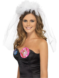 Hen Night Veil Headband - White - realistic enterprises llc