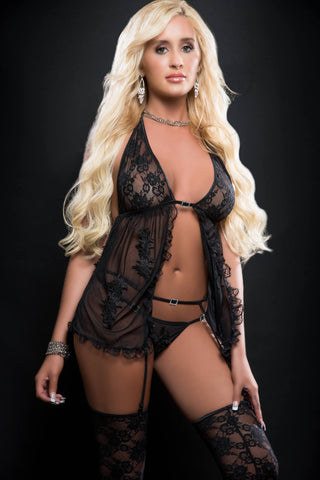 3pc Sensual Sheer Babydoll Open Front Ands Embroidery Applique - One Size - Blackout - RealisticDildos.com