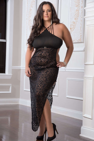 2 Pc. Shoulder-Baring Laced Night Dress - Black -  Queen Size