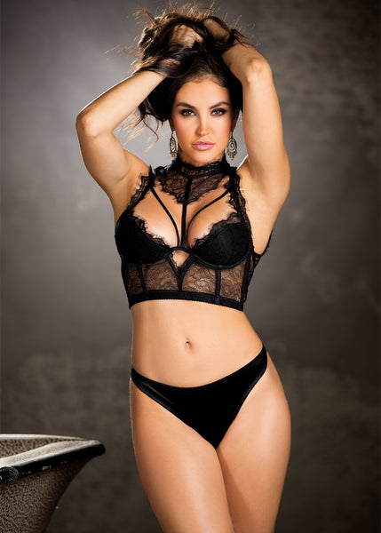 Top With Lace Neck Band - Large - Black - RealisticDildos.com