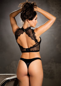 Top With Lace Neck Band - Small - Black - realistic enterprises llc