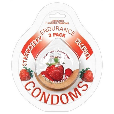 Endurance Condoms - Strawberry - 3 Pack
