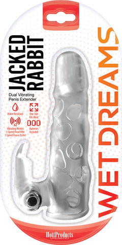Jack Rabbit Dual Vibrating Extender - Clear - realistic enterprises llc