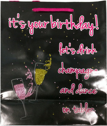Its Your Birthday Glitter Embellished Gift Bag - realistic enterprises llc
