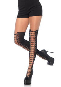 All Tied Up Pantyhose With Opaque Faux Thigh High Boot Detail - One Size - realistic enterprises llc
