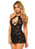 Lace Halter Chemise - One Size - Black - realistic enterprises llc