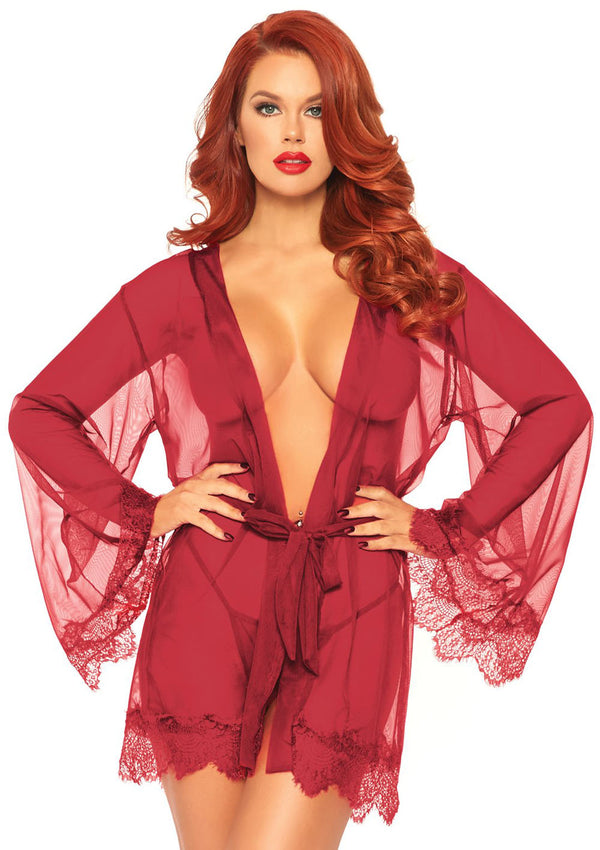 3 Pc Sheer Short Robe With Eyelash Lace Trim and Flared Sleeves - Burgandy - Xl - realistic enterprises llc