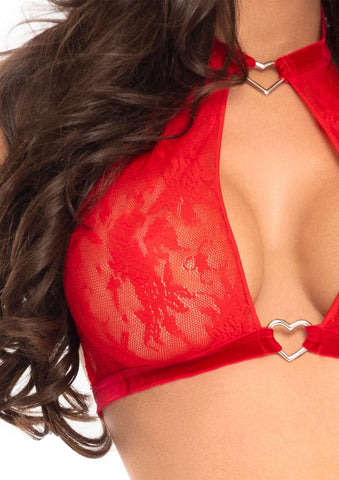 2 Pc Lace Halter Top and Panty Set - Red - M-l - realistic enterprises llc