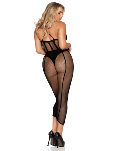 2 Pc. Net Bodysuit and Matching Skirt - Black