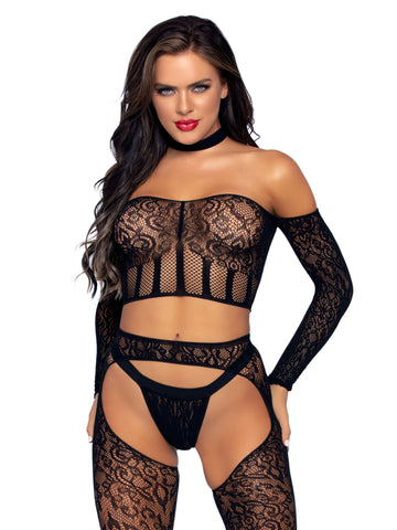 3 Pc. Halter Choker Crop Top, Suspender Hose, and  G-String - One Size - Black