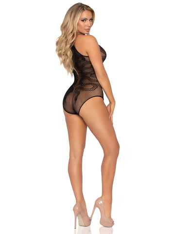 Snake Net Snap Crotch Bodysuit - One Size - Black