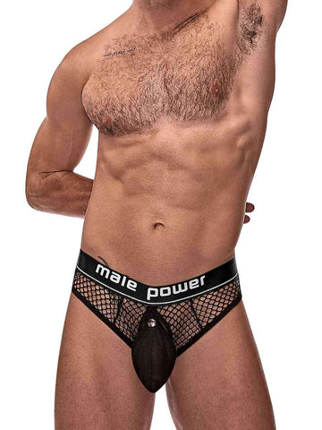 Cock Pit Net Cock Ring Thong - L- XL - Black