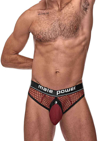 Cock Pit Nte Cock Ring Thong - L- XL - Burgundy