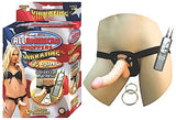 All American Whoppersvibrating 6.5-Inch Dong With Universasl Harness - Flesh - RealisticDildos.com