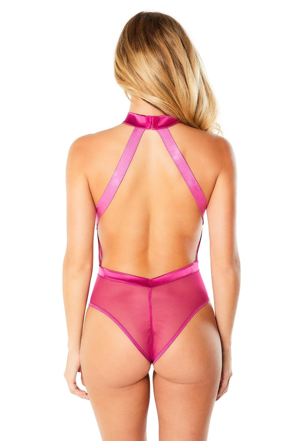 Embroidered Halter Bodysuit With Satin Trim - Festival Fuchsia - Large - realistic enterprises llc