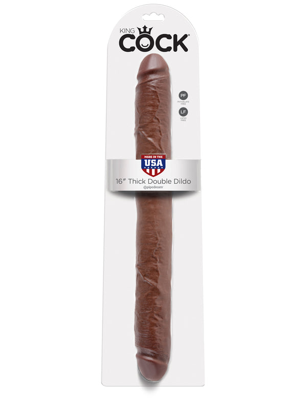 "King Cock 16"" Thick Double Dildo - Brown - realistic enterprises llc"