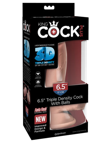 "King Cock Plus Triple Density 6.5"" Cock With Balls - Flesh - realistic enterprises llc"