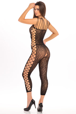Animal Crotchless Bodystocking - One Size - Black - realistic enterprises llc