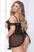 Lace and Mesh Babydoll and Thong - Black - 1x2x - realistic enterprises llc