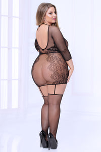 Fishnet Chemise Bodystocking - Queen Size - Black - realistic enterprises llc