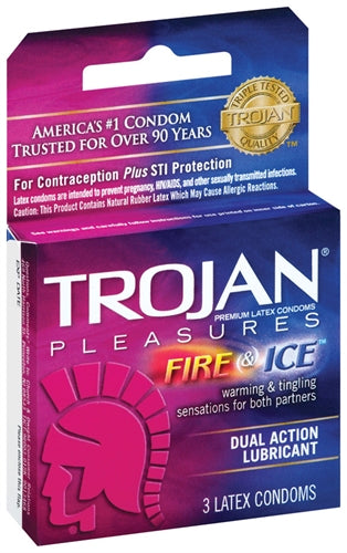 Trojan Fire and Ice Dual Action Lubricated Condoms - 3 Pack - realistic enterprises llc