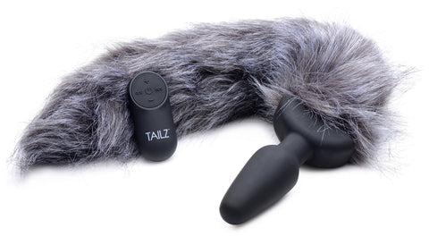 Grey Fox Tail Vibrating Anal Plug - realistic enterprises llc